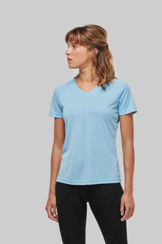 PA477 - T-shirt de sport manches courtes col v femme